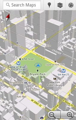 Google Maps 5.0 for Android with 3D maps