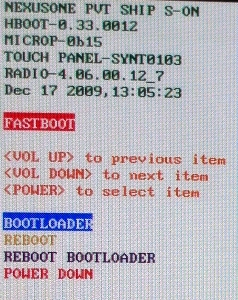 fastboot bootloader selected