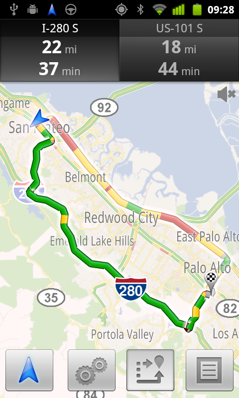 Google Maps Navigation showing driving times based on the real-time traffic conditions